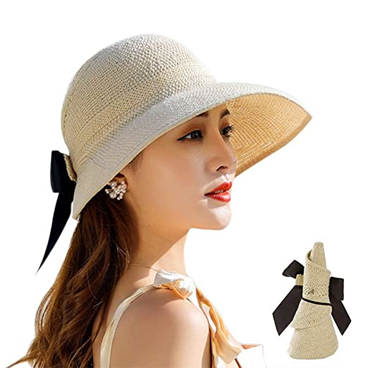 4de9b0653 Belsmi Womens Summer Foldable Sun Hat Beach Cap Bowknot Floppy UPF 50+