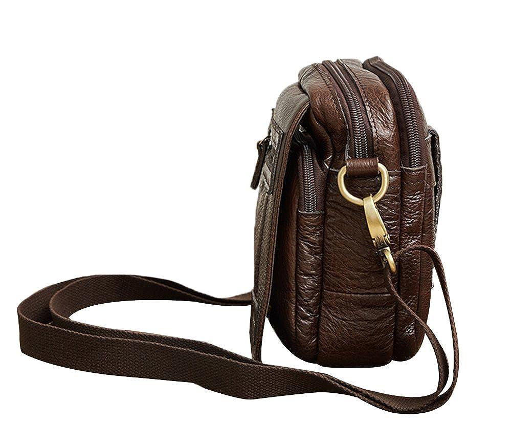 Genda 2Archer Vintage Leather Small Fanny Messenger Shoulder Satchel Waist Bag