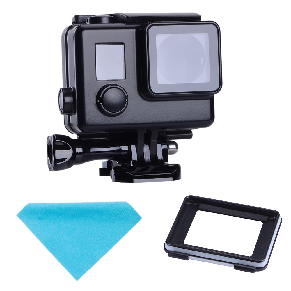 Suptig Replacement Waterproof Case Protective Black Housing Touch Housing for GoPro Hero 4 Hero 3+ Hero3 Outside Sport Camera for Underwater Use Water Resistant up to 147ft (45m) RSX-218