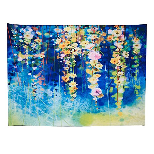 - Alicemall Bohemian Tapestry Country Rustic Blue and Yellow Flower Cluster Print Wall Hanging Boho Beach Throw Trippy Tapestries Dorm Room Wall Hanging Bedspread, 60 x 80 inches (Blue Flower Cluster)