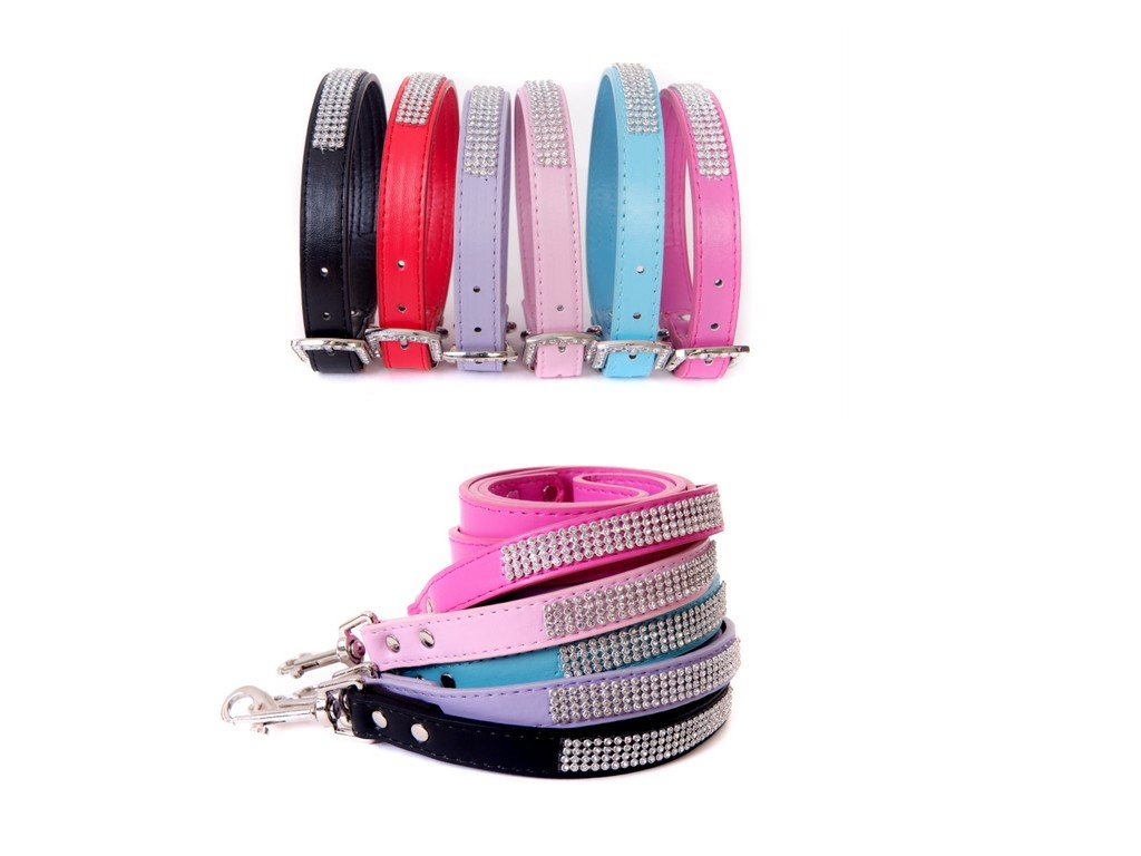 Bright Pink Medium Bright Pink Medium Lushpetz Rhinestone Diamante Dog Collar and Leash for XSmall Small and Medium Dogs (Medium, Bright Pink)