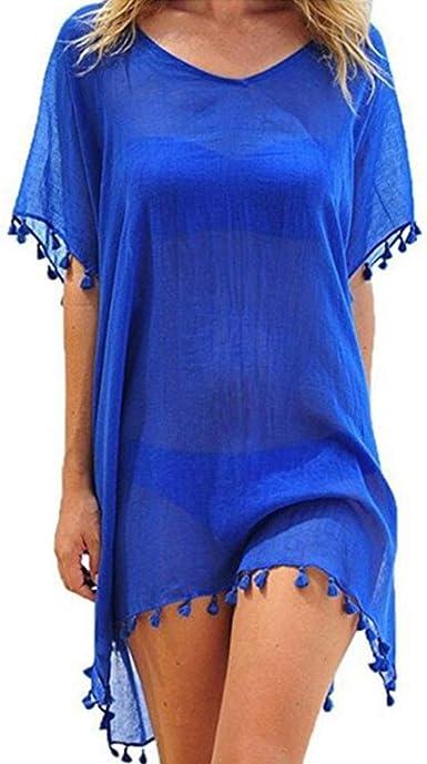 GOSOPIN Damen Strandkleid Bikini Cover up Strandtunika Kurz Beach Kleider Boho Strandrock Kimono Tops Bluse Urlaub