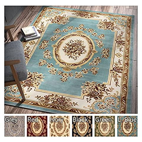 Pastoral Medallion Light Blue French Area Rug European Formal Traditional Area Rug 7' x 9' Easy Clean Stain Fade Resistant Shed Free Modern Classic Contemporary Thick Soft Plush Living Dining Room - French Country Living Room Furniture