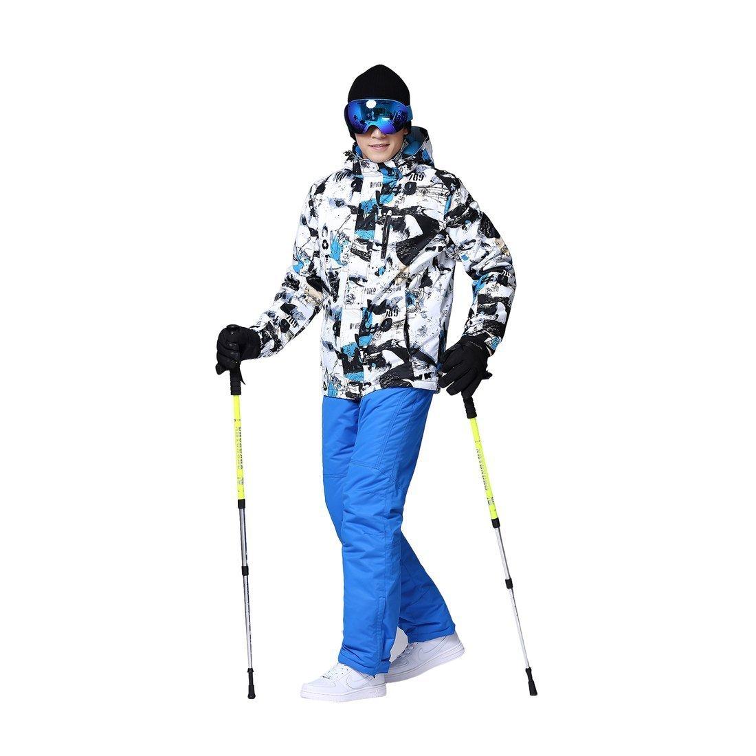 ext/érieur Coupe-Vent Pantalon de Ski pour Les Hommes Noir Bleu L Veste de Ski Sauvage Hommes Ensemble de Costume de Ski Neige Professionnel Ski Costumes Adultes