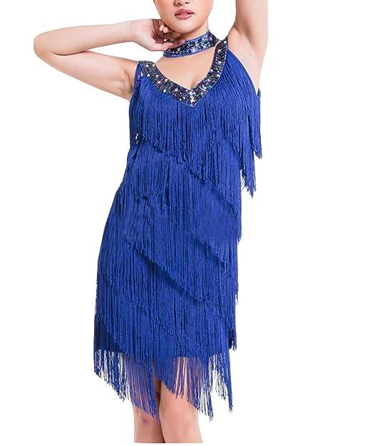 Mujer Elegante Lentejuelas Borla Vestidos Salsa Flamenco Baile Latino Sin mangas Talla única Azul zafiro