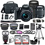 Canon EOS Rebel SL2 DSLR Camera with Canon EF-S 18-55mm f/4-5.6 IS STM Lens + Canon 75-300mm f/4-5.6 III Lens + 2 Aux Lenses + 2 Pcs 32GB Memory Card + Premium Accessories Bundle (19 Items)
