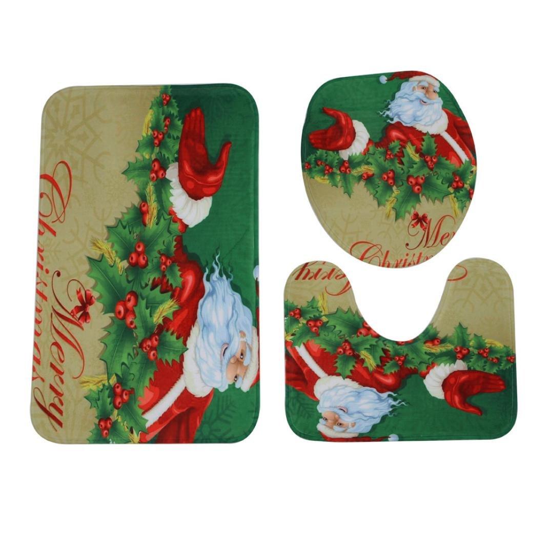 Bath Rug Set,vmree 3Pcs Home Christmas Toilet Foot Pad Seat Cover Radiator Cap Bathroom Sets for Home Bathr oom Tub Wood Floors (B) by vmree (Image #2)
