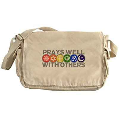 Royal Lion Khaki Messenger Bag Prays Well With Others Peace Symbol