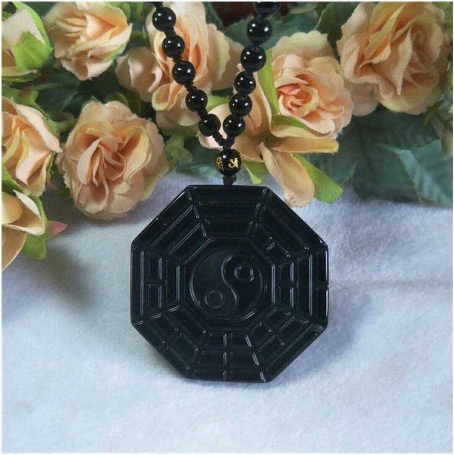 YUNGYE Pendant Joyería Pendiente de Obsidiana Natural Taiji Bagua Jade Suerte for alejar el Mal espíritus Amuleto Colgante de Jade joyería Fina para Chicas
