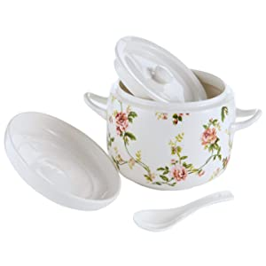 Small Ceramic Stew Pot with Lid and Spoon Premium Steam Soup Bowl Steaming Cup for Home Kitchen Egg Custard Medicinal Herbs Bird's Nest Tonic, Oven Dishwasher Safe, 650ML