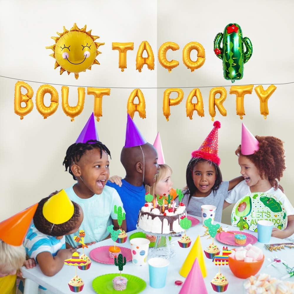 "Style 1 Party Decoration Supplies Set Taco About A Party Foil Ballons 18/""Foil Ballons 2nd Fiesta Birthday/Decoration 47pcs Cinco De Mayo,Luau Party Decorations"