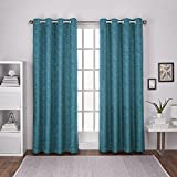 Exclusive Home Curtains Criss Cross Chenille Eyelash Room Darkening Grommet Top Window Curtain Panel Pair, Teal, 54×84 For Sale