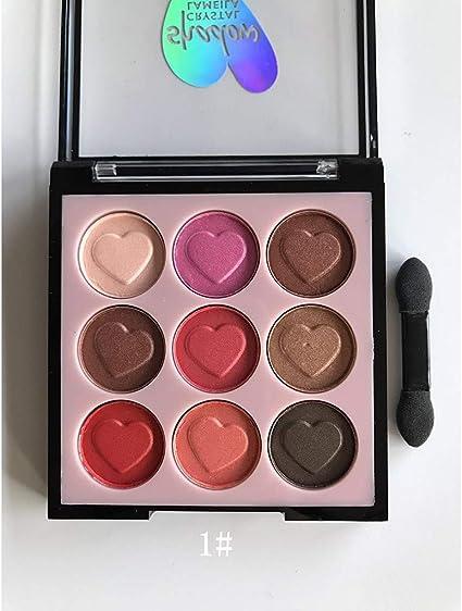 VRTUR - Paleta de maquillaje para ojos de 9 colores nacarados de melocotón, plana, color crema, plano, sombra de ojos, cosméticos, paleta de maquillaje para los ojos: Amazon.es: Belleza