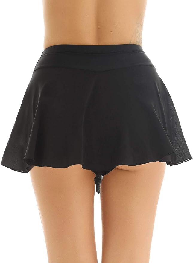 YiZYiF Women Girls High Waist Flared Dance Skirt Ballroom Latin Dance Skirt Dance Costumes