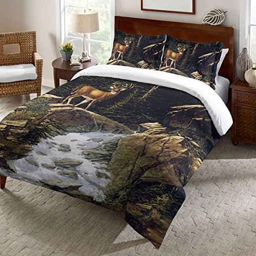 1 Piece Deer Above Falls Printed Design Duvet Cover King Size, Featuring Wildlife Inspired Rustic Comfortable Bedding, Contemporary Stylish Animal Themed Bedroom Decoration, Black, Brown, Multicolor
