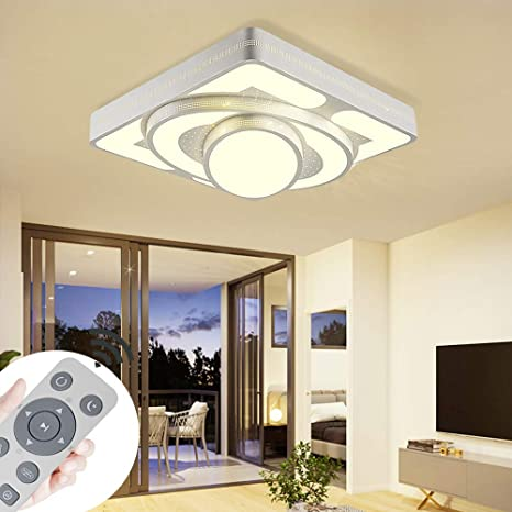 Lámpara de techo Lámpara LED de techo Lámpara de la sala de estar 64W Luces de techo modernas Cocina Baño Pasillo Dormitorio (Blanco, 64W-regulable)