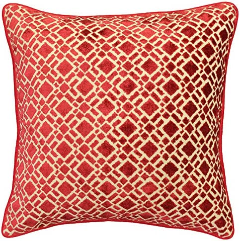 Rodeo Home Nala Geometric Decorative Velvet Throw Pillows for Sofa, Couch, Bed, Size 20 x20 50cm x 50cm Includes 100 Feather Fill Insert Red, 20×20
