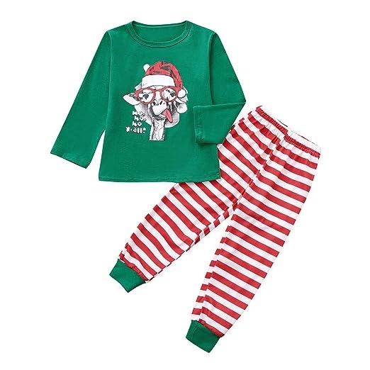 f3d254cd9ac2e Amazon.com: 2PCS Kids Christmas Pajamas Sleepwear Set Long Sleeve T ...