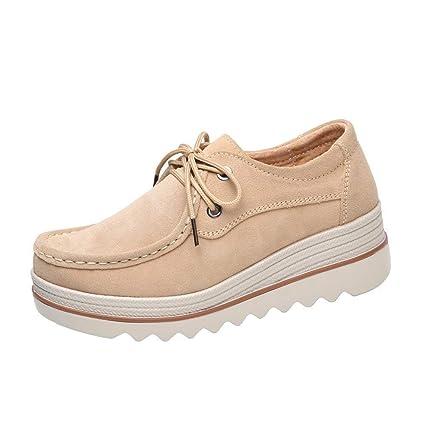 ZHRUI Zapatos Planos de Mujer Zapatillas con Cordones Muffin Zapatos Casuales de Cuero Creepers Mocasines Moda