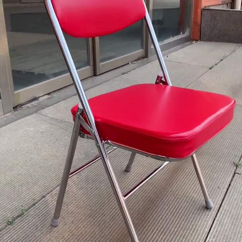 Liuhuan 3200 serien premium vinyl stoppad dubbelstöd hopfällbar stol, svart/röd/vit Svart Röd