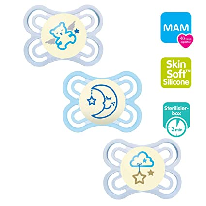 MAM Perfect Night Skin Soft - Chupete (silicona, 0-6, brilla en la ...