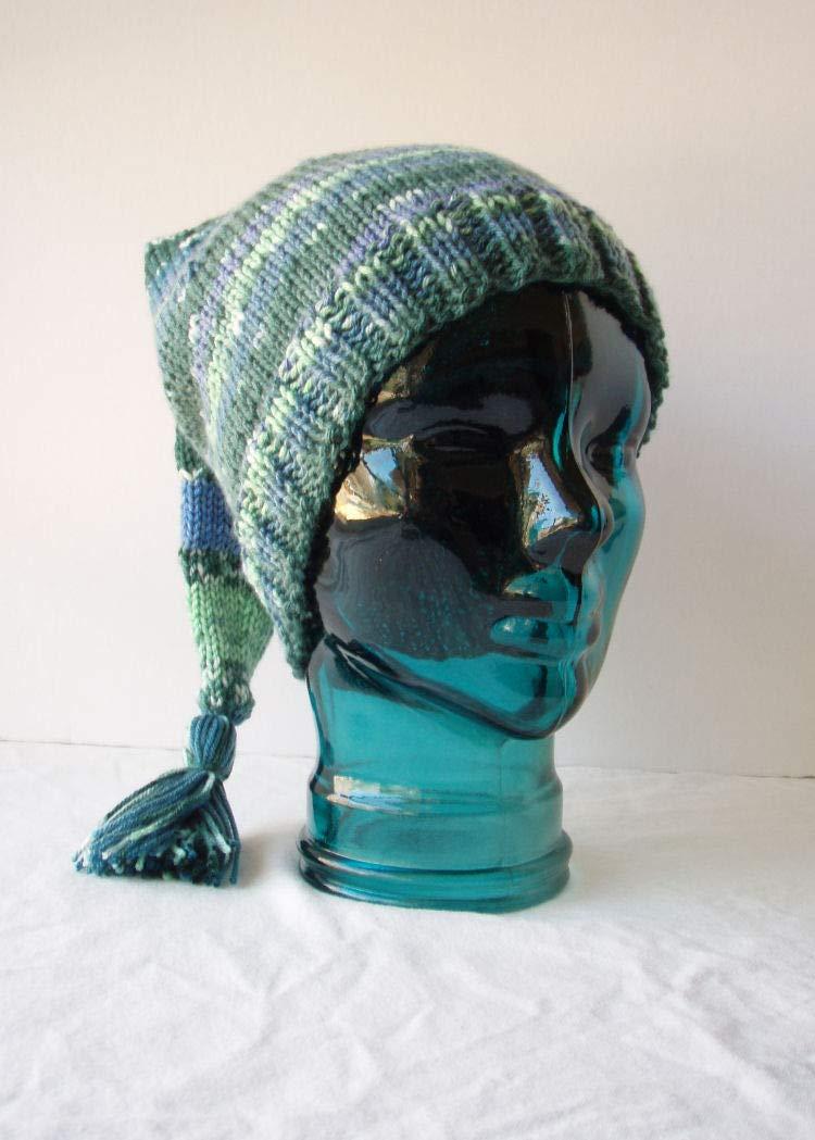 423c1dcf5bb Amazon.com  Tasseled Green Blue Striped Stocking Cap Handknit Elf Hat Size  Large  Handmade