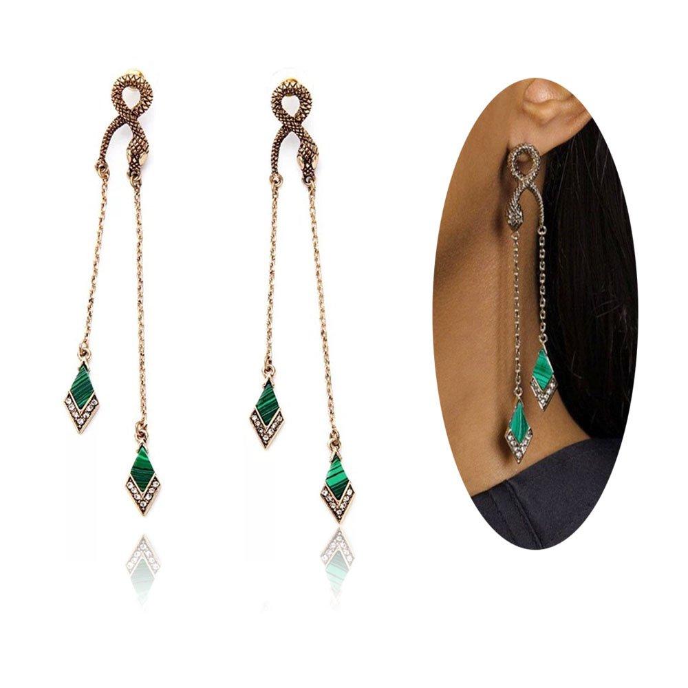 Peony.T Women's Vintage Snake stud Linear Rhinestone Green Long Drop Snake Earrings Dangle