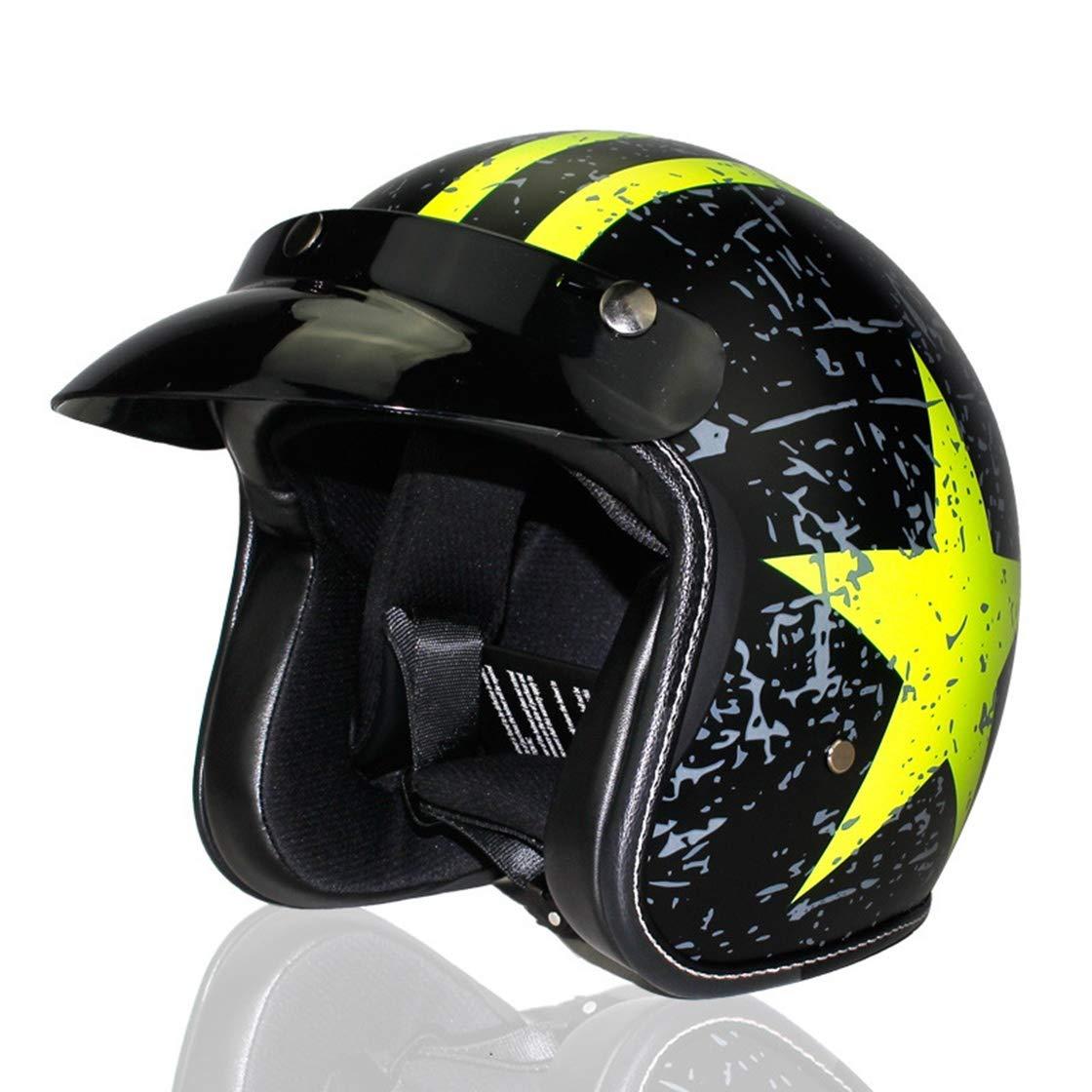 Ysayc Retro Motocross Helme Pentagramm Leicht Ausrüstung im Freien Klassisch Multifunktion Abnehmbare Sonnenblende Radfahren Motorrad Schutz Deluxe Helm, Schwarz, L