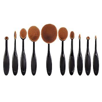 10pcs Cepillo De Dientes Negro Curva De La Herramienta Del Maquillaje Cepillo De Base Ovalada: Amazon.es: Belleza