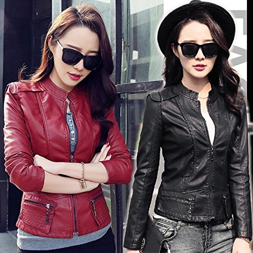 XJG Fashion Women's Motorcycle Leather Jacket Slim Fit Short Paragraph Jacket Blazer Red M