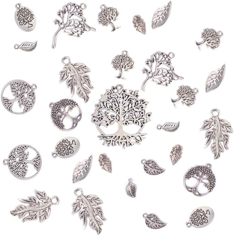 PandaHall Elite 60 Pcs Tibetan Style Alloy Tree of Life and Leaf Dangle Charms Pendants 12 Style for Jewelry Making Antique Silver