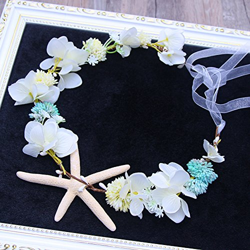Scala Brand 3 Colors to Choose Bridal Hair Accessories Handmade Headband Beach Starfish Flower Wreath Bride Handmade Wedding Garland Soft Pearl Hair Jewelry (White (Starfish Beach Wedding Accessories)