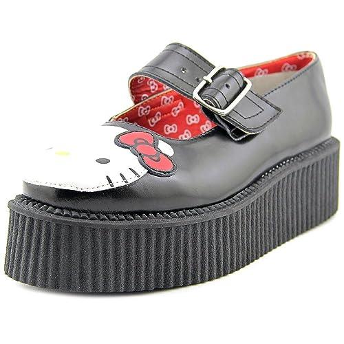 T.U.K. Shoes Women's Hello Kitty Black & White Leather Mondo Creeper EU42/UKW9 JeKPQzEY3f