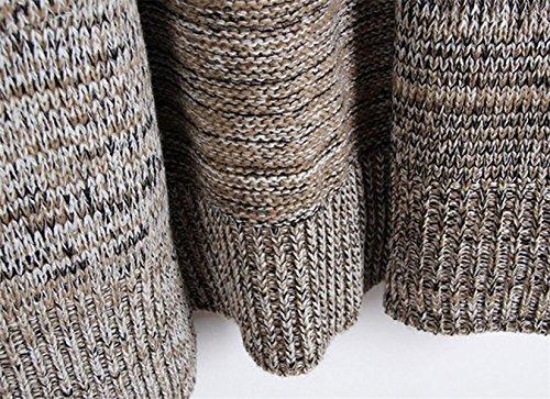 Mujeres Moda Relajado Tejido De Punto Suéter Chaqueta De Punto Las Secciones Largas Bolsillos Grandes Salvajes Suéteres Grey