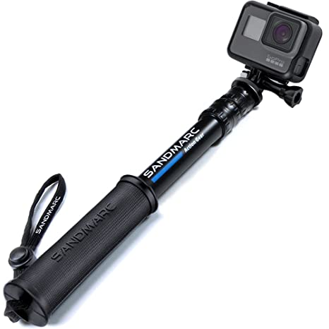 SANDMARC Pole - Compact Edition: 25-64 cm Palo (Stick) para GoPro Hero 7, Osmo Action, Hero 6, Hero 5, 4, 3+, 3, 2, y HD