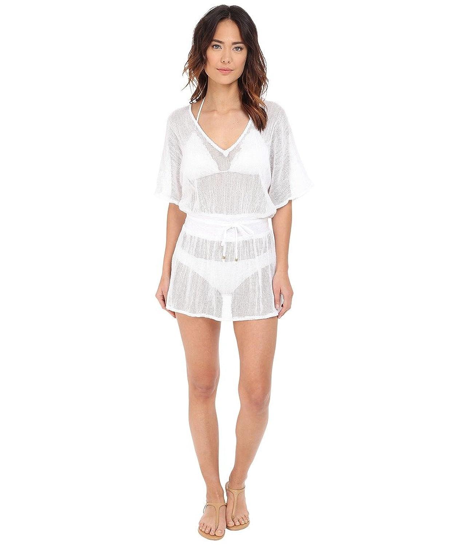 Vitamin A Swimwear Lucette Plunge Tunic Cover-Up Honeycomb Mesh White Women's Swimwear