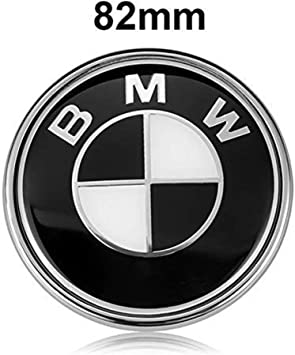BMW Emblems Hood and Trunk 74mm Black BMW Logo Replacement for ALL Models BMW E46 E30 E36 E34 E38 E39 E60 E65 E90 325i 328i X3 X5 X6 1 3 5 6 7 82MM+74MM 82mm