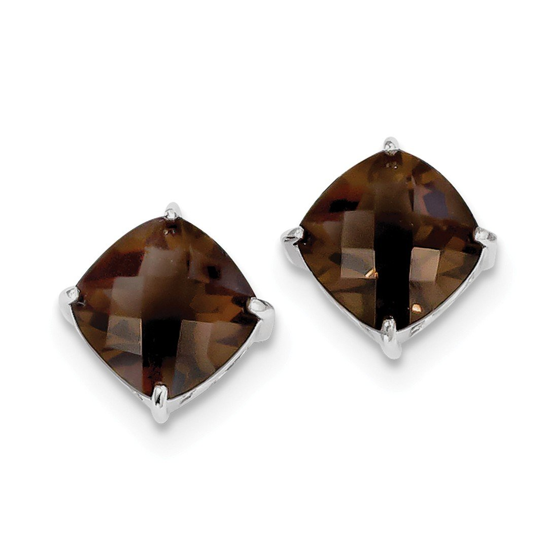 ICE CARATS 925 Sterling Silver Smoky Quartz Post Stud Ball Button Earrings Fine Jewelry Gift Set For Women Heart