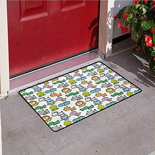 (Jinguizi Doodle Welcome Door mat Cartoon Style Animals Lion Zebra Frog Dinosaur Crocodile Bat Rhino Fun Illustration Door mat is odorless and Durable W19.7 x L31.5 Inch Multicolor)