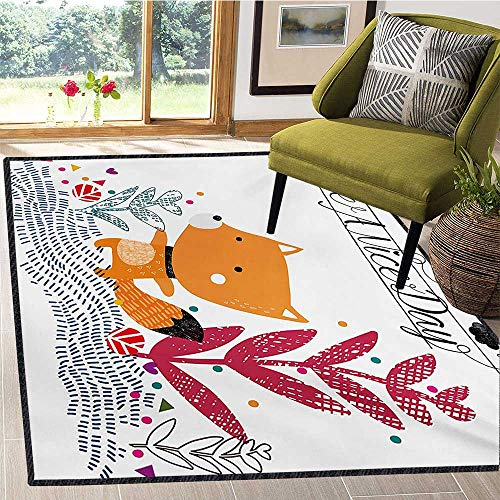 - Fox, Kids Carpet Playmat Rug, Cute Little Fox Character Colorful Geometric Spring Field Have a Nice Day Text Dots, Door Mats for Inside 4x6 Ft Multicolor