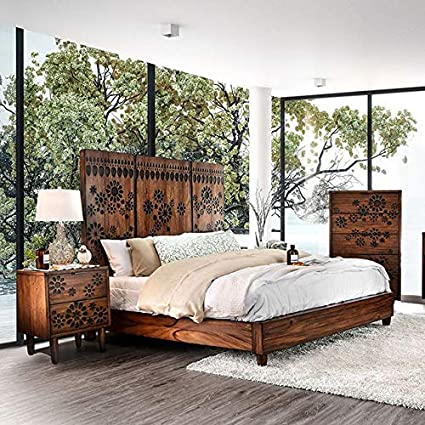 Amazon.com: Esofastore Contemporary Dark Oak Finish Bedroom ...