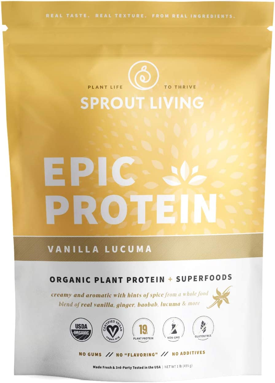 Epic Protein, Organic Plant Protein + Superfoods, Vanilla Lucuma | 19 Grams Vegan Protein, Gluten Free, No Gums, No Flavoring (1 Pound, 13 Servings)