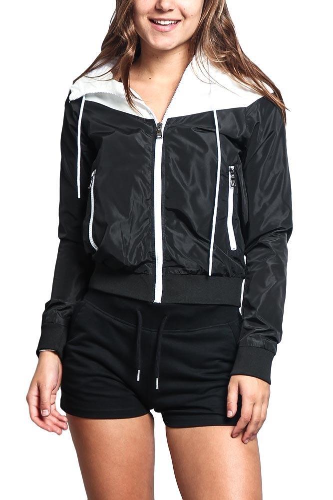 G-Style USA Riflessi Women's Color Block Hooded Windbreaker Jacket WBJ01 - Black/White - Large - DD1B