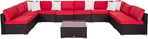 Kinbor 11 Piece PE Rattan Conversation Set Patio Furniture Wicker Outdoor Yard Garden Sectional Sofa Set