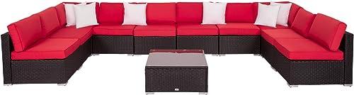 Kinbor 11 Piece PE Rattan Conversation Set Patio Furniture Wicker Outdoor Yard Garden Sectional Sofa Set