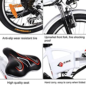 ANCHEER Folding Electric Bike with 36V 8Ah Removable Lithium-Ion Battery, 20 inch Ebike with 250W Motor and Shimano 7 Speed Shifter (Folding-White)
