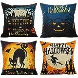 HOSL PW01 4-Pack Happy Halloween Square Decorative Throw Pillow Case Cushion Cover Bat Pumpkin