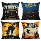 HOSL 4pc Happy Halloween Square Decorative Throw Pillow Case Cover Deal (Small Image)