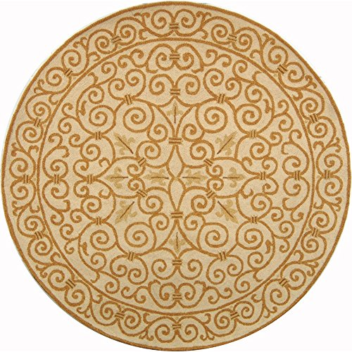 Safavieh Chelsea Collection HK11P Hand-Hooked Ivory and Gold Premium Wool Round Area Rug (5'6