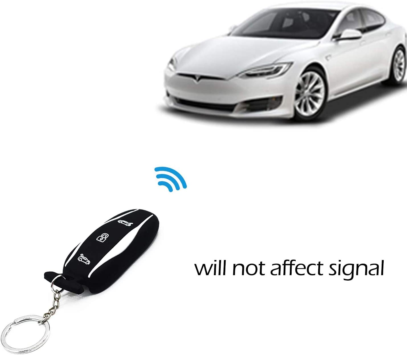 Black Car Key Fob Cover,Silicone Auto Remote Key Fob Protector Case Holder for Tesla Model 3